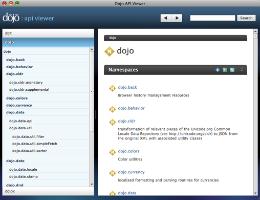 Dojo Toolbox API Viewer