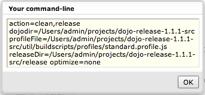 Dojo build tool command line options