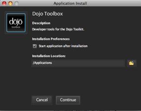 Dojo Toolbox Install Location Dialog