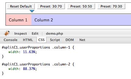 Split-Panel demo, firebug CSS tab screenshot