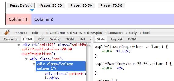 Split-Panel demo, firebug HTML tab screenshot