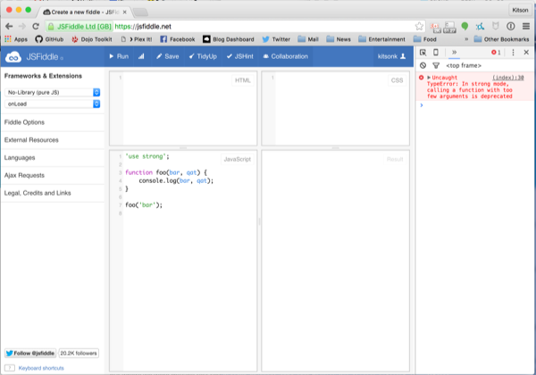 Canary Chrome running in strong mode.