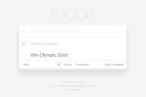 A screenshot of TodoMVC written in Dojo 2