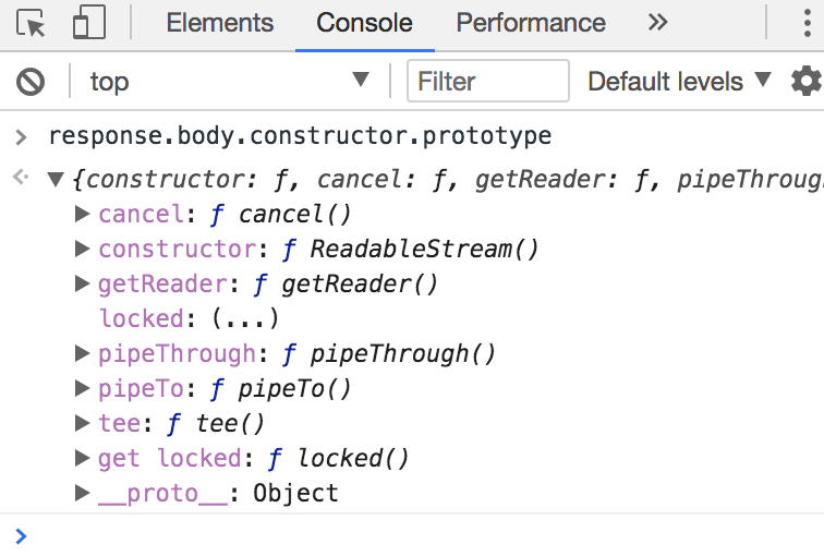 Viewing the readable stream constructor