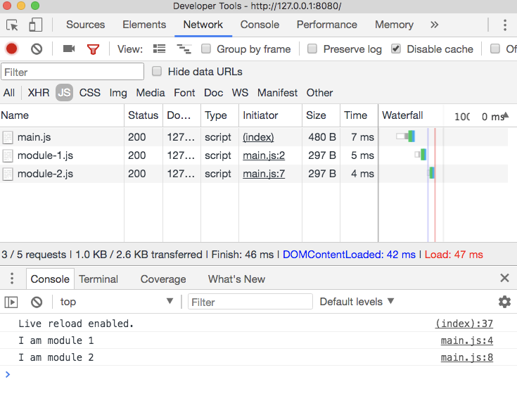 Module downloads though Chrome DevTools