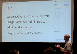 """A slide showing code of an image with an empty alt and the question """"VoiceOver won't announce this image. What ARIA do I need to make it work?"""""""