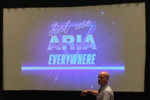 Slide with colorful retro text saying just use ARIA everywhere