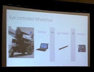 Slide showing an eye-controlled wheelchair using a Surface tablet, eye tracker, and Arduino