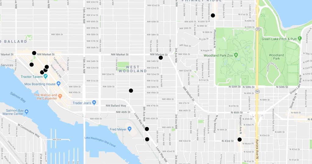 Screenshot of a neighborhood-level city map with eleven black dots scattered across the view