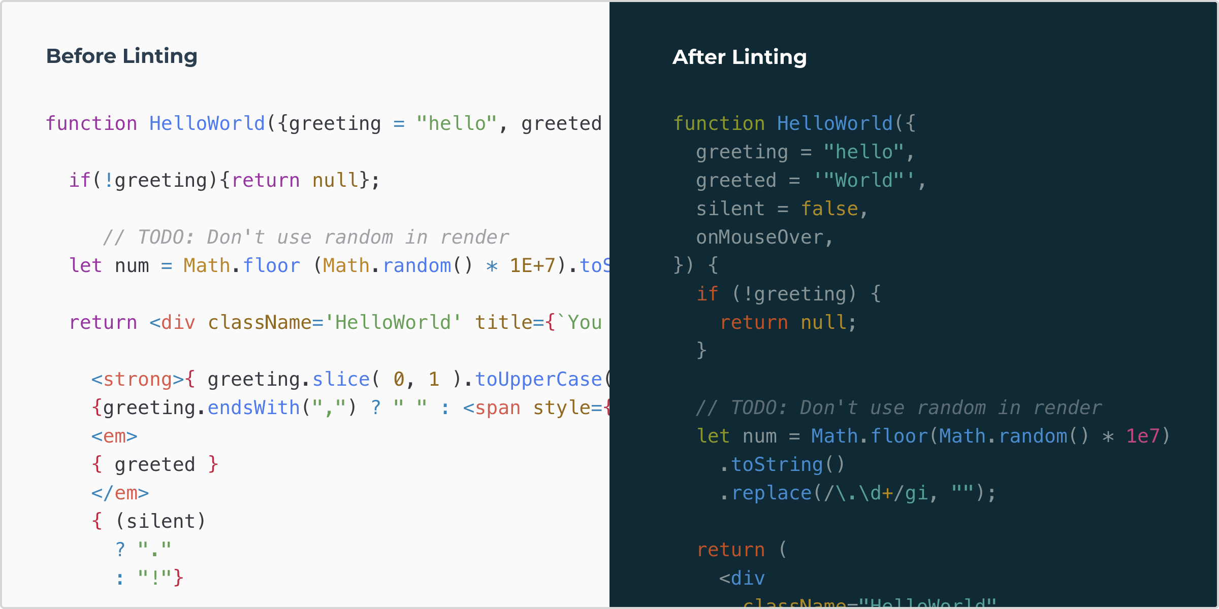 Before and After Linting